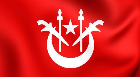 kelantan: 3D Flag of Kelantan, Malaysia. Close Up.