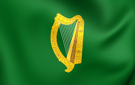 leinster: 3D Flag of Leinster Province, Ireland. Close Up. Stock Photo