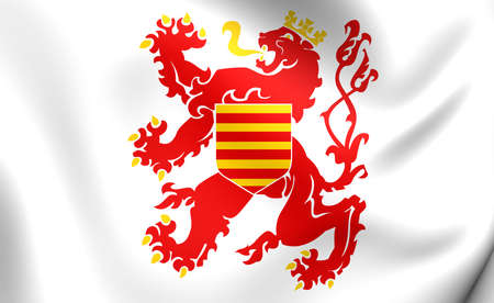 ensign: 3D Flag of Limburg Province, Belgium. Close Up.