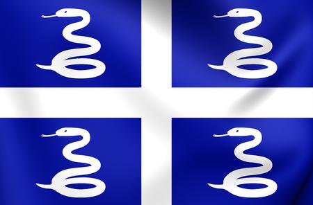 martinique: 3D Flag of Martinique. Close Up.