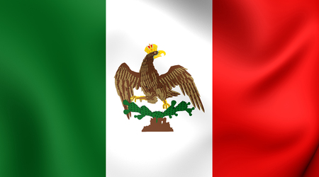 old flag: 3D Flag of Mexico (1821-1823). Close Up. Stock Photo