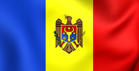 moldova: 3D Flag of the Moldova. Close Up. Stock Photo