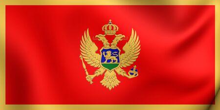 montenegro: 3D Flag of the Montenegro. Close Up. Stock Photo