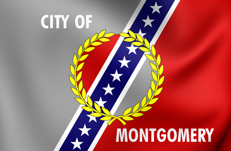 montgomery: 3D Flag of Montgomery City (Alabama), USA. Close Up.