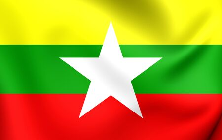 myanmar: 3D Flag of the Myanmar. Close Up.