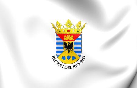 region: 3D Flag of Bio Bio Region, Chile. Close Up.