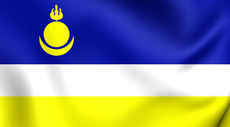 buryatia: Republic of Buryatia Flag, Russia. Close Up.