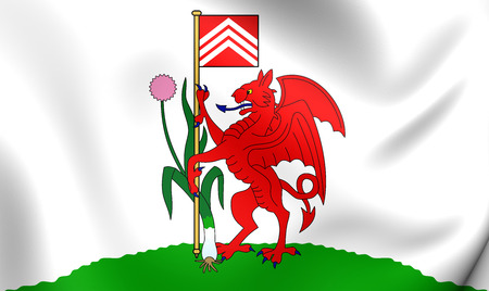 cymru: 3D Flag of Cardiff City, Wales. Close Up.