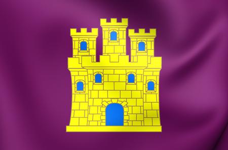 castilla: 3D Flag of the Castile. Close Up.
