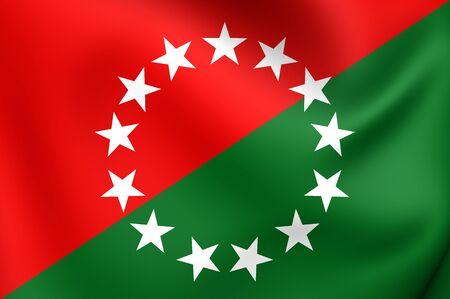 bandera de panama: Bandera 3D de la provincia de Chiriquí, Panamá. Acercamiento.
