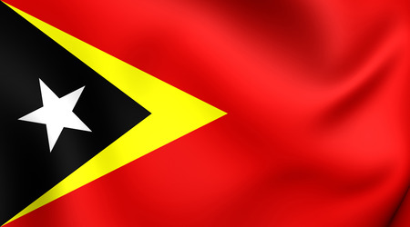 east: 3D Flag of East Timor. Close Up.