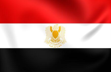 former: 3D Flag of Egypt (1972-1984). Close Up.