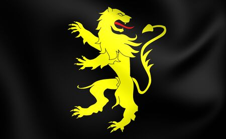 sir: 3D Flag of Ceredigion County, Wales. Close Up.