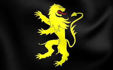 welsh flag: 3D Flag of Ceredigion County, Wales. Close Up.