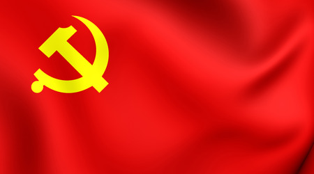 china flag: 3D Flag of Chinese Communist Party. Close Up. Stock Photo