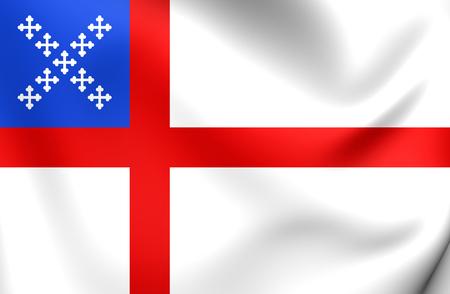 episcopal: 3D Flag of Episcopal Church. Close Up.