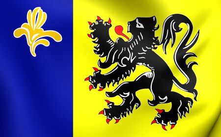 commission: 3D Flag of Flemish Community Commission. Close Up.