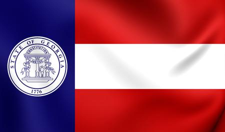 georgian: 3D Flag of Georgia State (1920-1956), USA. Close Up.