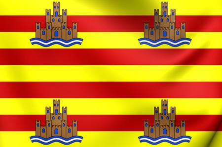 ibiza: 3D Flag of Ibiza, Spain. Close Up. Stock Photo
