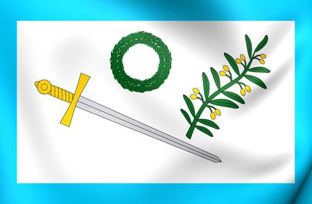 parliament: 3D Flag of Mexican Insurgents (parliament variant). Close Up.