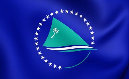 pacific: Secretariat of the Pacific Community Flag. Close Up. Stock Photo