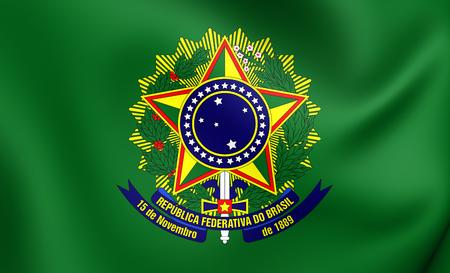 presidential: 3D Presidential Standard of Brazil. Close Up.