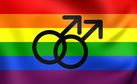 Gay Pride Flag. Close Up. Stock Photo