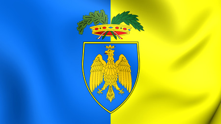 europe closeup: Province of Udine Flag, Italy. Close Up.