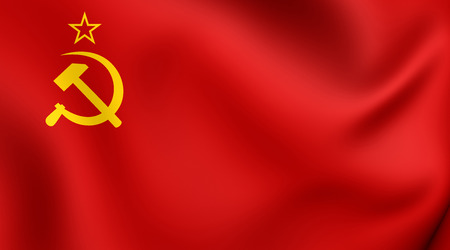 3D Flag of the Soviet Union (1923-1955). Close Up.
