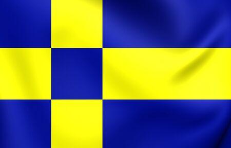3D Vlag van Tilburg, Nederland. Detailopname.