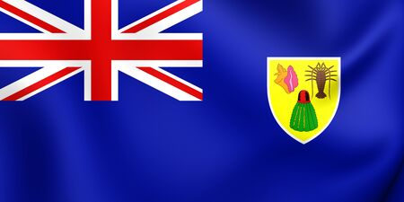 the turks: 3D Flag of Turks and Caicos Islands. Close Up. Stock Photo