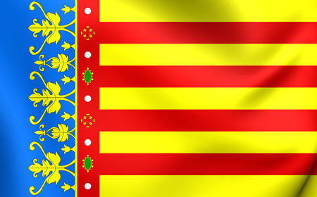 valencian: 3D Flag of Valencian Community, Spain. Close Up.