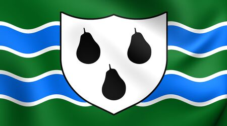 worcestershire: 3D Flag of Worcestershire County, England. Close Up. Stock Photo