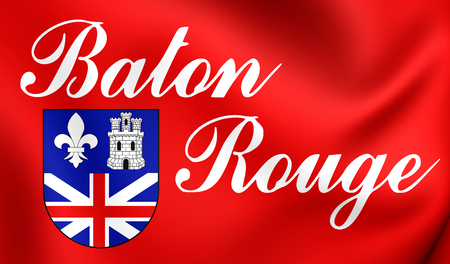 baton rouge: 3D Flag of Baton Rouge (Louisiana), USA. Close Up. Stock Photo