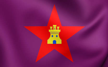 castilla: 3D Flag of the Castile (with star). Close Up.