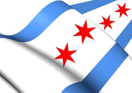 chicago: 3D Flag of Chicago, USA. Close Up.