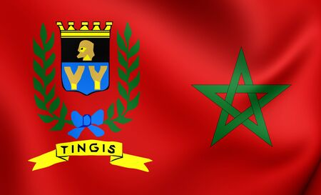 3D Flag of International Tangier, Morocco. Close Up.