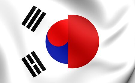 3D Flag of Japan and South Korea. Close Up.