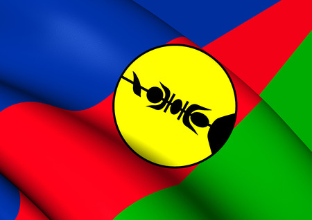 collectivity: 3D Flag of New Caledonia. Close Up. Stock Photo