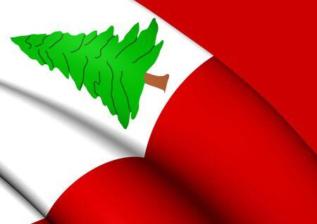 new england: 3D Flag of New England, Pine Version, USA. Close Up.