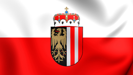 upper austria: 3D Flag of Upper Austria, Oberosterreich. Close Up.