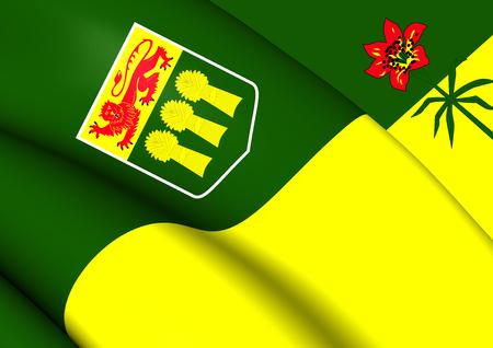 saskatchewan flag: 3D Flag of Saskatchewan Province, Canada. Close Up.