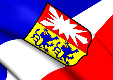 holstein: 3D Flag of Schleswig-Holstein, Germany. Close Up. Stock Photo