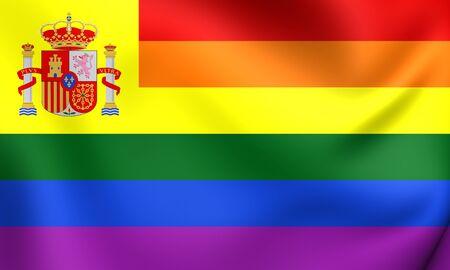 spanish flag: Spanish Gay Flag. Close Up.