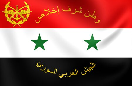 syrian: 3D Flag of Syrian Armed Forces. Close Up.