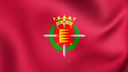 city coat of arms: 3D Flag of Valladolid City, Spain. Close Up. Stock Photo