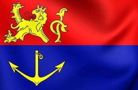 limburg: 3D Flag of Venlo City (Limburg), Netherlands. Close Up.