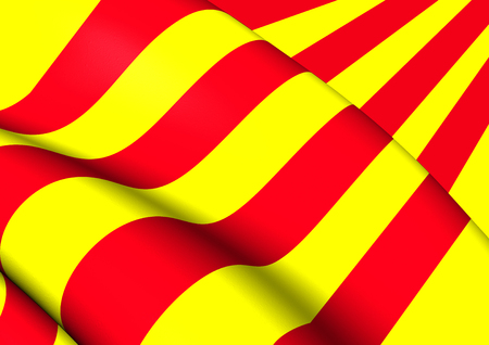 3D Flag of the Catalonia. Close Up.