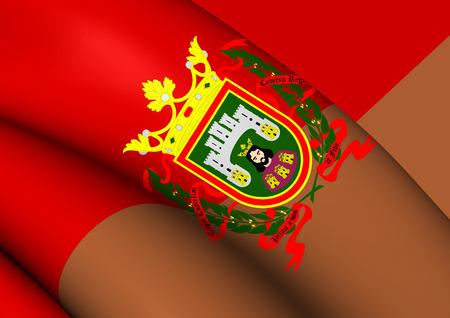 leon: 3D Flag of Burgos City, Spain. Close Up.