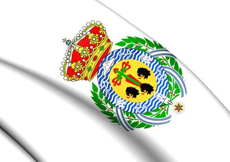 santa cruz de tenerife: 3D Flag of Santa Cruz de Tenerife City, Spain. Close Up.